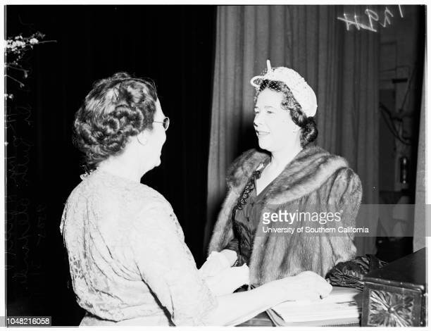 Interview at Ebell Theatre 10 March 1952 Doctor Ruth Alexander lecturer and writerMrs Harold V MatherLos Angeles California USA