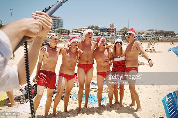 Interview on Bondi Beach Xmas day,Summer there. Merry Christmas to everyone!Sydney, Australia. Happy,red underpants.