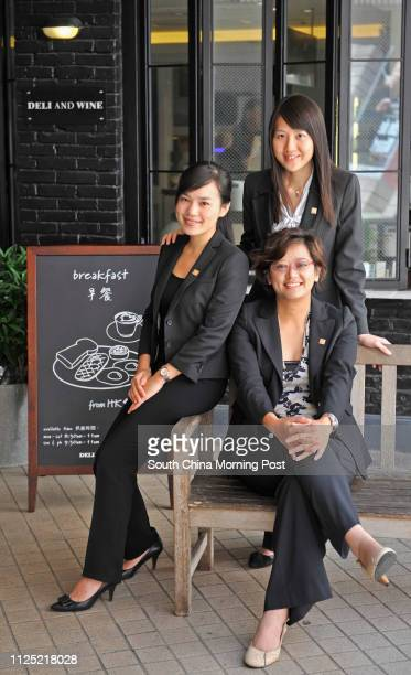 Interview with Jacqueline Ng Wingman left assistant training officer training development of Maxim's Caterers Ltd Molly Lam Waikan right front...