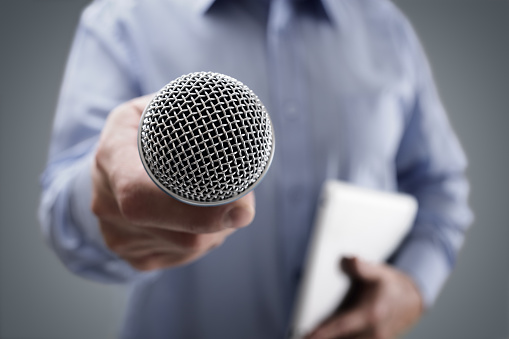 Interview with microphone 531708524
