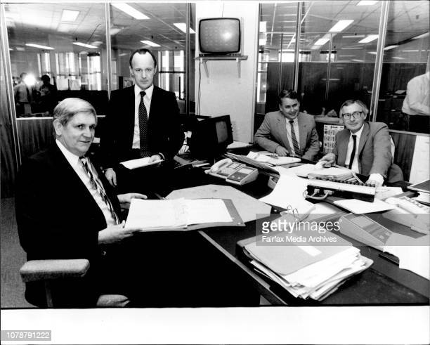 Interview with Westpac's Investment Men L to R Mr Jim Goldman Mr Brendan Riordan Mr Alan Taylor and Mr Brian Cleary in the Equity Dealings Room...