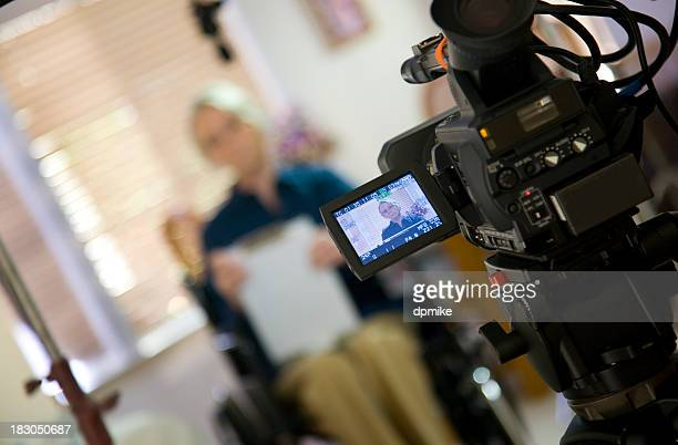 Interview woman in wheelchair