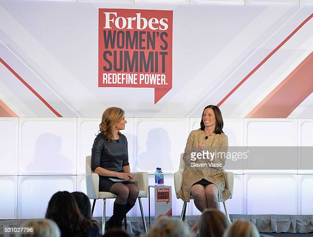 Interviewer Deirdre Bolton and Nasdaq President and COO Adena Friedman speak onstage during the 2016 Forbes Women's Summit at Pier Sixty at Chelsea...