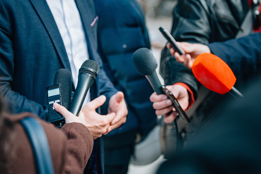 Interviewing businessman or politician, press conference 866214648