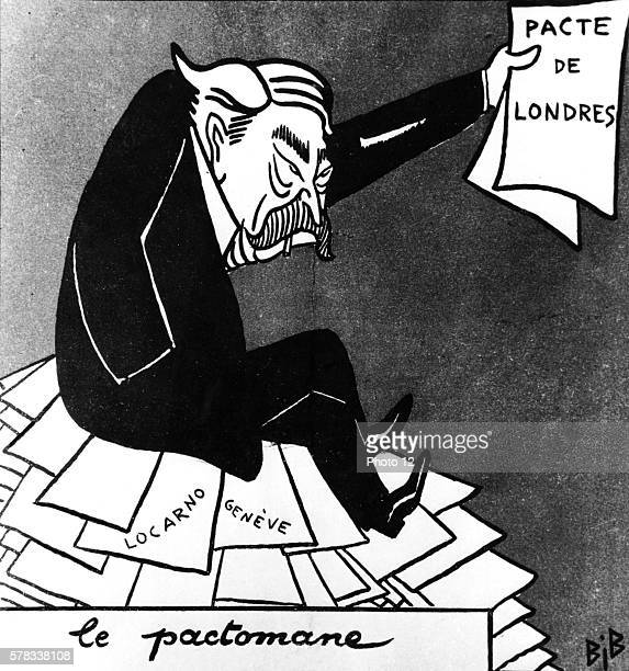 Interwar period Caricature of the French politician Aristide Briand titled 'Le Pactomane' Concerning the Treaty of London