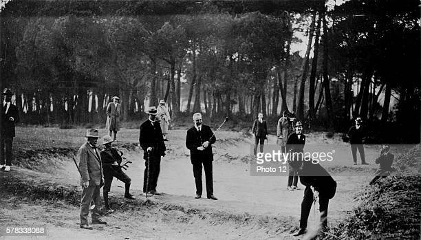 Day of relaxation during which the three presidents play golf From left to right Lloyd George Ivanoe Bonomi and Aristide Briand