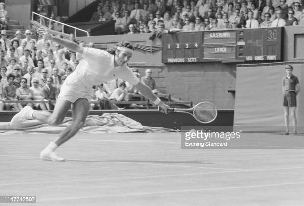Inter-Zonal Zone, GB v Brazil, 1969 Davis Cup: Welsh tennis player Graham Stilwell in action at the All England Club, Wimbledon, London, UK, 3rd...