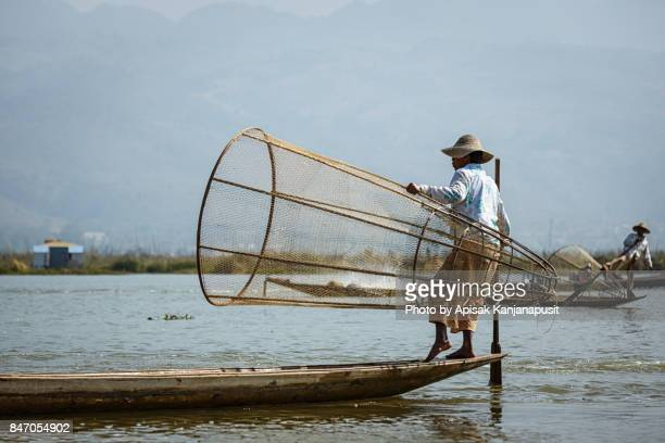 Intha, The fisherman of Inle Lake, Taunggyi District of Shan State in Myanmar.