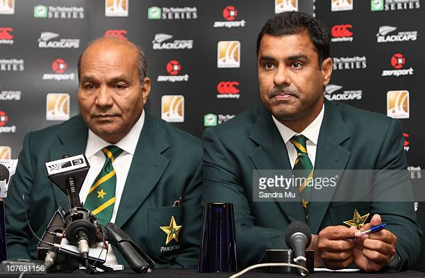 Intikhab Alam Team Manager of Pakistan and Waqar Younis Coach of Pakistan field questions from the media during a Pakistan cricket press conference...
