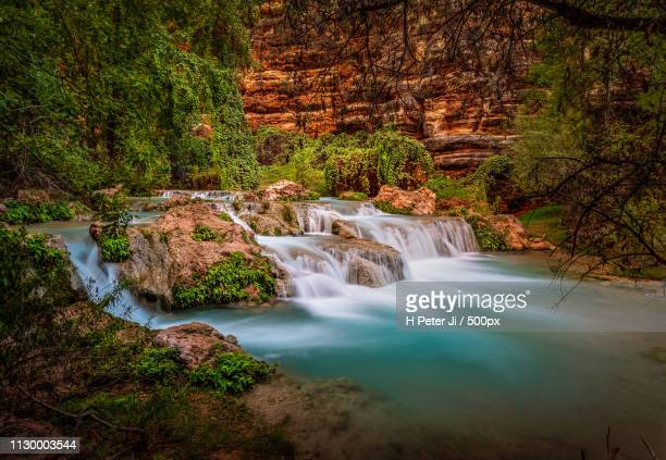 intimate closeup of this almost sacred havasu creek - havasu creek stock photos and pictures