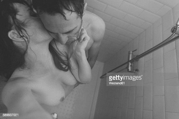 Intimate couple in shower