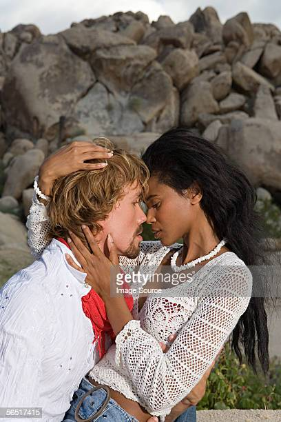 intimate couple - black women kissing white men stock pictures, royalty-free photos & images