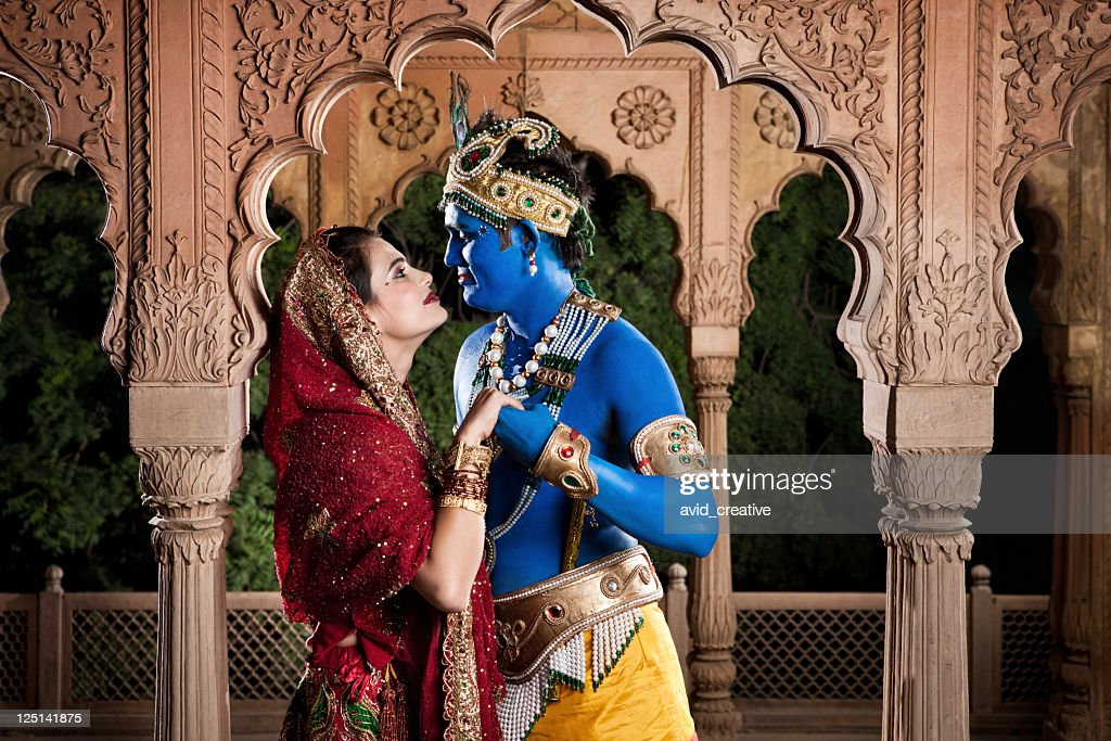 Intimate Lord Krishna And Radha Stock Photo - Getty Images