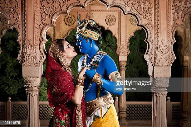 intimate lord krishna and radha - lord krishna stock photos and pictures