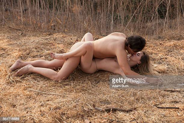 intimate naked couple engaged in sexual intercourse at nature - erotische stockfoto's en -beelden