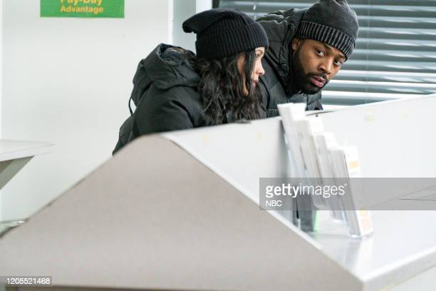 """Intimate Violence"""" Episode 715 -- Pictured: Lisseth Chavez as Vanessa Rojas, LaRoyce Hawkins as Kevin Atwater --"""
