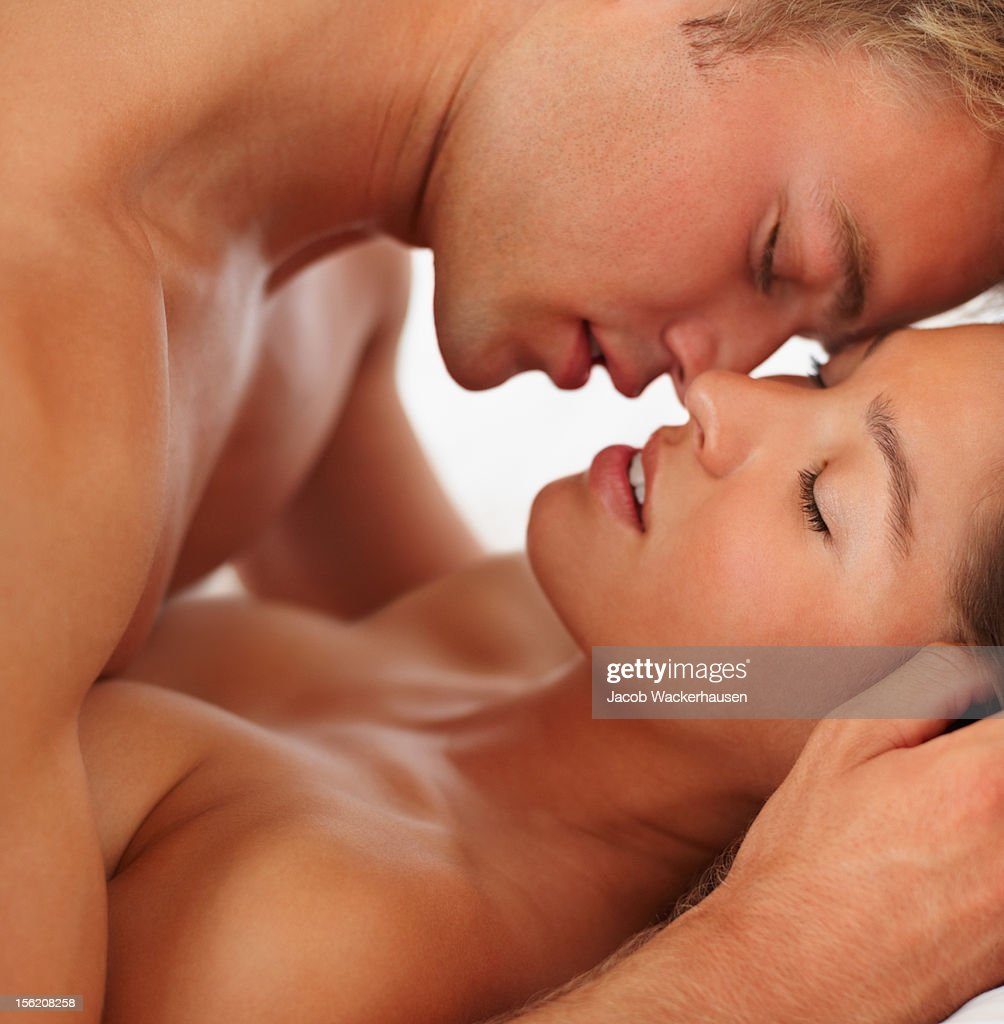 Intimate young couple during foreplay : Stock Photo