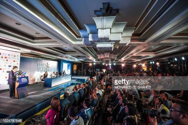 Intishal Tamimi , director of El-Gouna Film Festival, speaks during a press conference in the capital Cairo in August 28 announcing details for the...