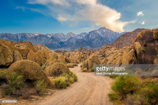 into the hills - alabama hills stock photos and pictures