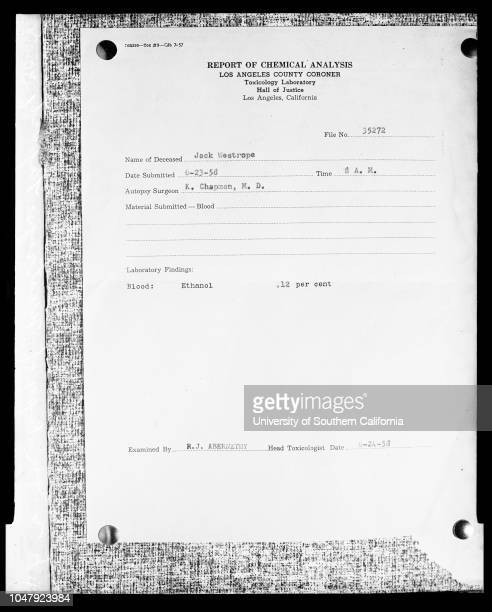 Intoxication report on Jackie Westrope 30 June 1958 Copy of the reportCaption slip reads 'Photographer Mitchell Date Reporter Hertel Assignment...