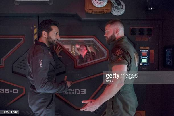 THE EXPANSE 'Intransigence' Episode 309 Pictured Cas Anvar as Alex Kamal Anna Hopkins as Monica Stuart Wes Chatham as Amos Burton