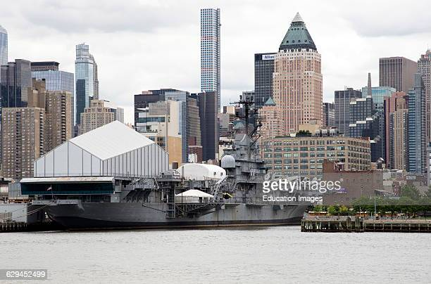 USS Intrepid aircraft carrier and museum on Hudson River Manhattan NYC