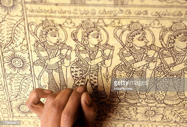 Intricate and detail drawings of ancient art form known as Kalamkari Andhra Pradesh India