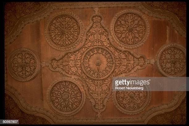 Intricate stoneonwood relief carving at Largarh Palace now hotel built 1902 for Bikaner dynasty maharaja by Sir Samuel Swinton Jacob