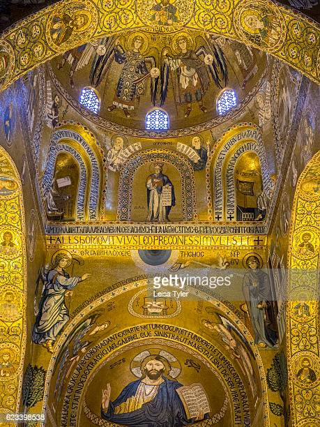 Intricate tile mozaics inside the Cappella Palatina or Palatine Chapel the royal chapel of the Norman kings of Sicily at the Palazzo Reale in Palermo