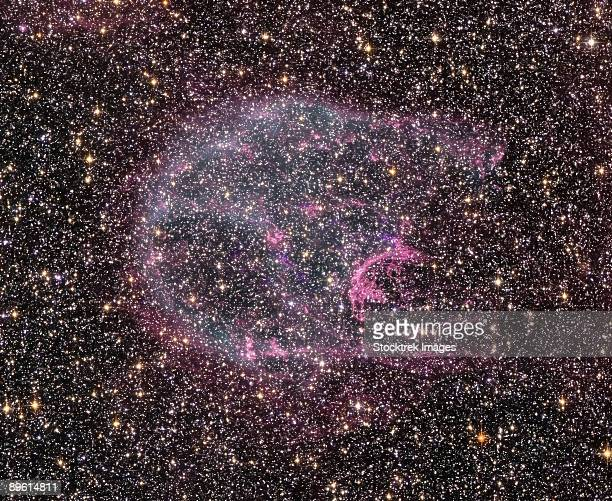 intricate wisps of glowing gas float amid a myriad of stars in this image created by combining data from nasa's hubble space telescope and chandra x-ray observatory.   - x ray image ストックフォトと画像