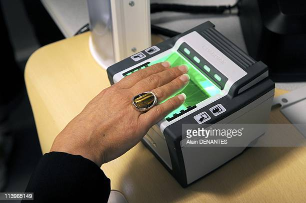 Introduction of biometric passports In Pornic France On November 10 2008Introduction of new biometric passports with the example of the device...