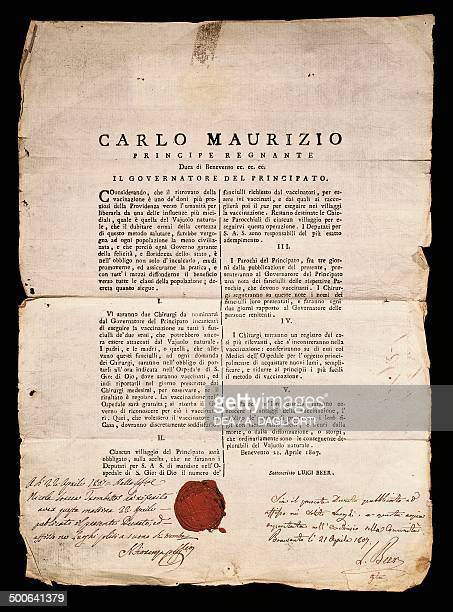 Introduction of vaccination against smallpox in Benevento area decree of April 21 1807 signed by Louis de Beer French governor of the Duchy of...
