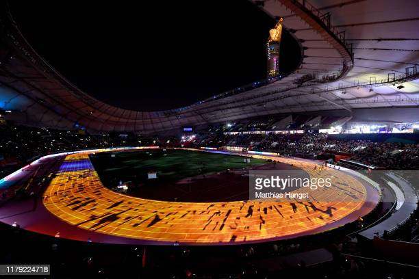 Introductions take place for the Men's 4x100 Metres Relay during day nine of 17th IAAF World Athletics Championships Doha 2019 at Khalifa...