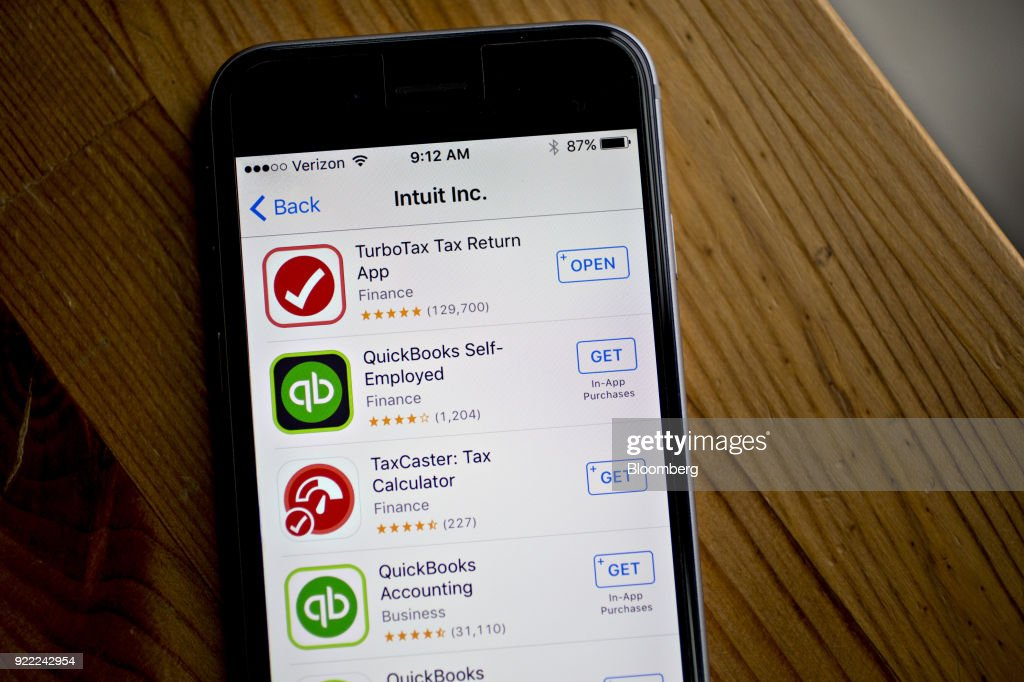 Intuit Inc. applications are seen in the App Store on an Apple Inc. iPhone in Washington, D.C., U.S., on Friday, Feb. 16, 2018. Intuit Inc. is expected to release earnings figures on February 22. Photographer: Andrew Harrer/Bloomberg via Getty Images