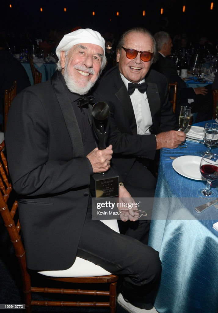 Inuctee Lou Adler (L) and actor Jack Nicholson attend the 28th Annual Rock and Roll Hall of Fame Induction Ceremony at Nokia Theatre L.A. Live on April 18, 2013 in Los Angeles, California.
