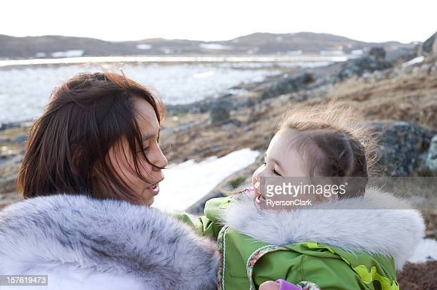 inuit mother and daughter, baffin island, nunavut, canada. - first nations stock pictures, royalty-free photos & images