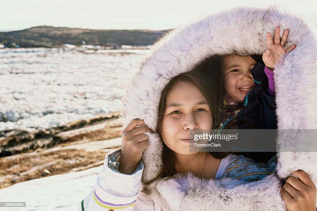 Inuit Mother and Daughter on Baffin Island, Nunavut, Canada. : Stock Photo