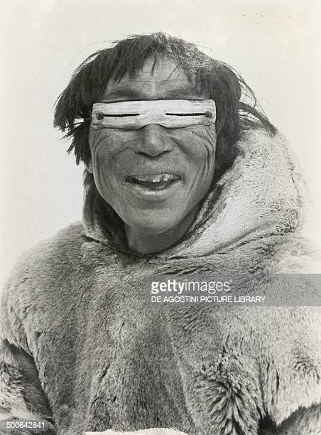 Inuit with snow goggles, 20th century. Yellowknife, Prince Of Wales Northern Heritage Centre