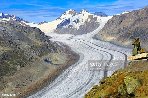 Inukshuk, Aletsch Glacier, Jungfrau, Mönch above Bernese Swiss Alps