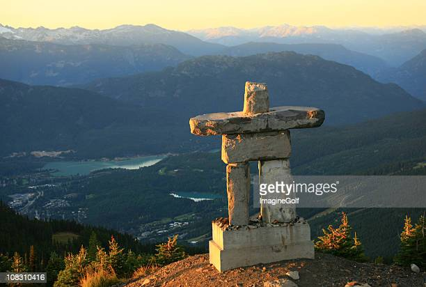 inukshuk at whistler - whistler british columbia stock pictures, royalty-free photos & images