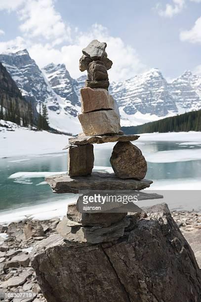 Inukshuk, stacked stones at Moraine lake