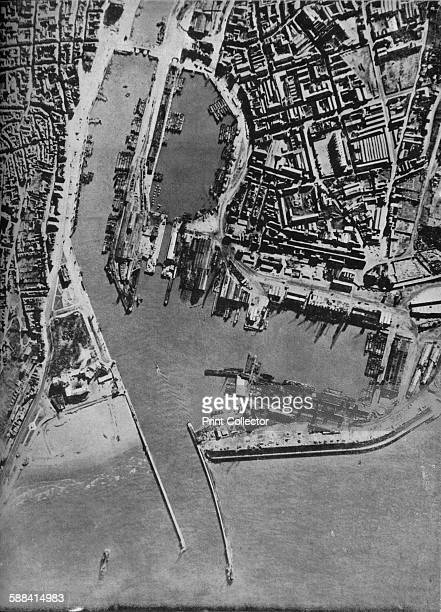 Invasion barges massed in Boulogne harbour France 1940 German invasion barges waiting on the French coast during the Battle of Britain Operation Sea...