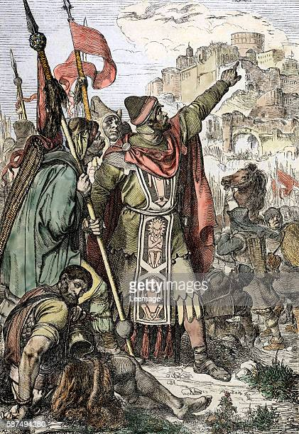 King of the huns Attila shows to his soldiers the city of Aquileia just before he destroys it 452 Engraving from Historische Memorabilien des Inund...