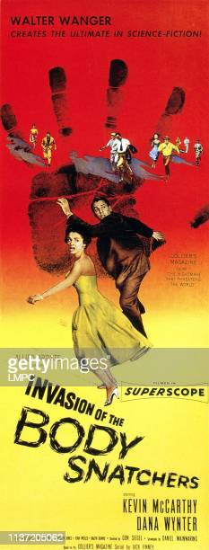 Invasion Of The Body Snatchers poster center from left Dana Wynter Kevin McCarthy on an 'insert' style poster 1956