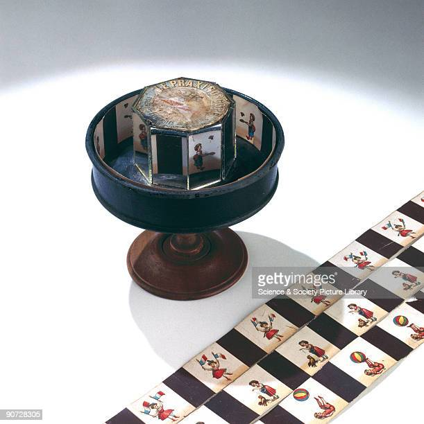 Invented by the French artist Emile Reynaud in 1877 this optical toy was a variant on the Zoetrope It also had a band of drawings around the...