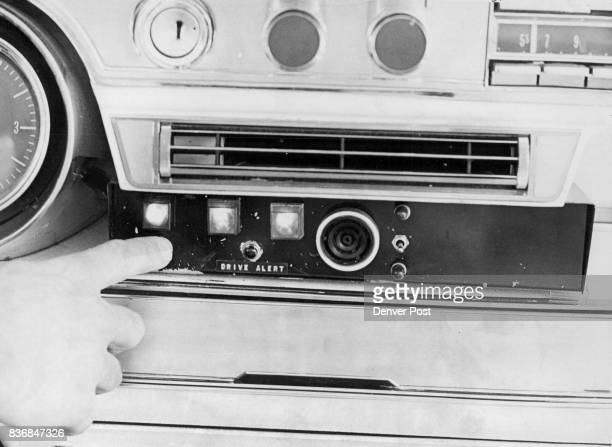 Inventions Here's Dashboard Unit Of Device Designed To Keep Drivers On Their Toes Operator is pushing button that cancels alert stopping blowing horn...