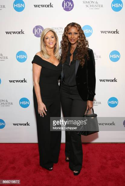 Inventor and entrepreneur Joy Mangano celebrates the release of her first book INVENTING JOY with Supermodel Iman at WeWork on October 24 2017 in New...