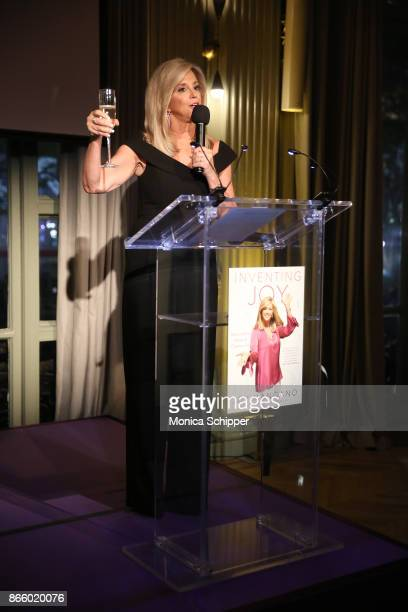 Inventor and entrepreneur Joy Mangano speaks on stage as she celebrates the release of her first book INVENTING JOY at WeWork on October 24 2017 in...