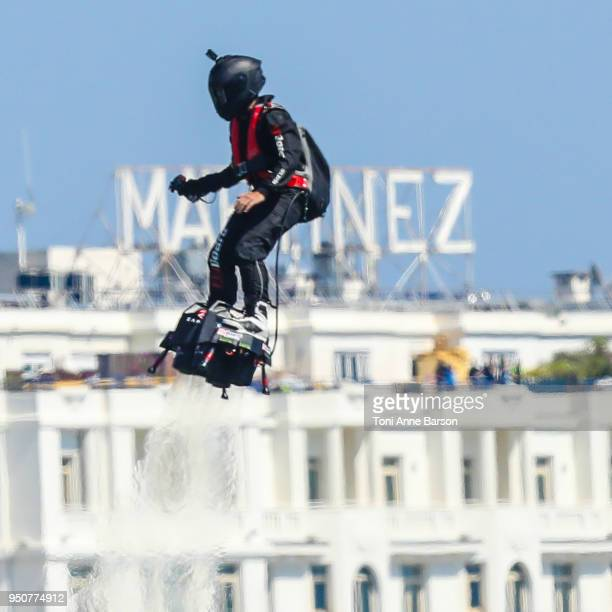 Inventor and pilot Franky Zapata flying the flyboard during the Red Bull Air Race on April 22, 2018 in Cannes, France.