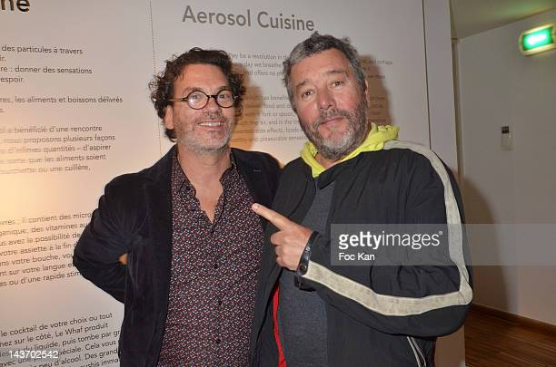 HH inventor David Edwards and WAA/H Spray designer Philippe Starck attend the 'WAA/HHÕ Food Flavouring Spray By Philippe Starck and Patrick Edwards...
